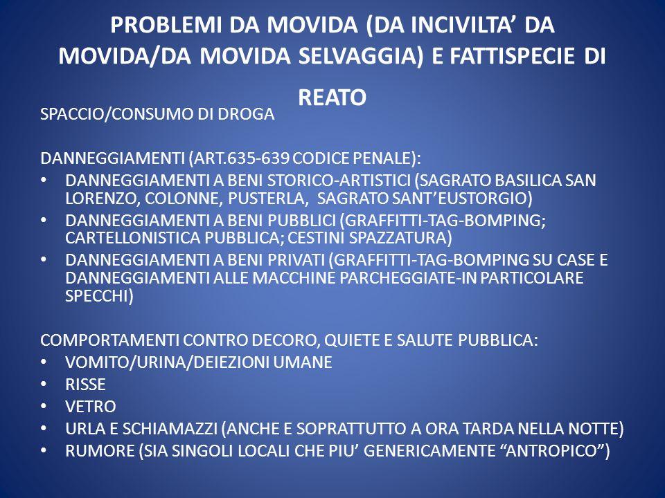 PROBLEMI DA MOVIDA (DA INCIVILTA' DA MOVIDA/DA MOVIDA SELVAGGIA) E FATTISPECIE DI REATO