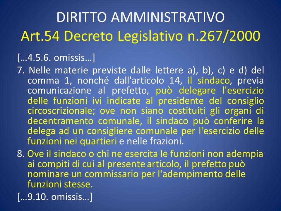 DIRITTO AMMINISTRATIVO Art.54 Decreto Legislativo n.267/2000