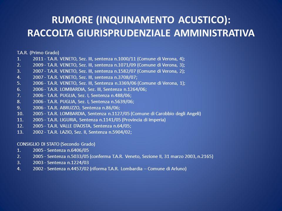 RUMORE (INQUINAMENTO ACUSTICO): RACCOLTA GIURISPRUDENZIALE AMMINISTRATIVA