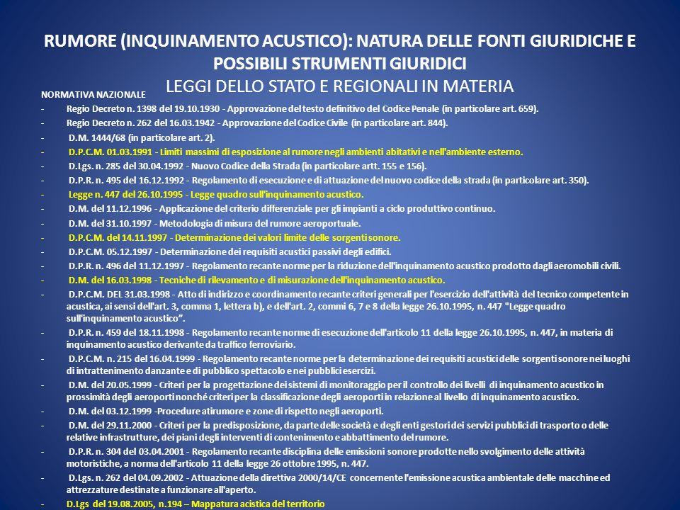 RUMORE (INQUINAMENTO ACUSTICO): NATURA DELLE FONTI GIURIDICHE E POSSIBILI STRUMENTI GIURIDICI LEGGI DELLO STATO E REGIONALI IN MATERIA
