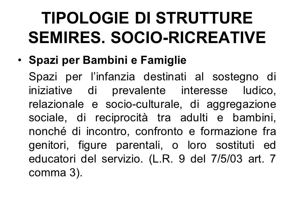 TIPOLOGIE DI STRUTTURE SEMIRES. SOCIO-RICREATIVE