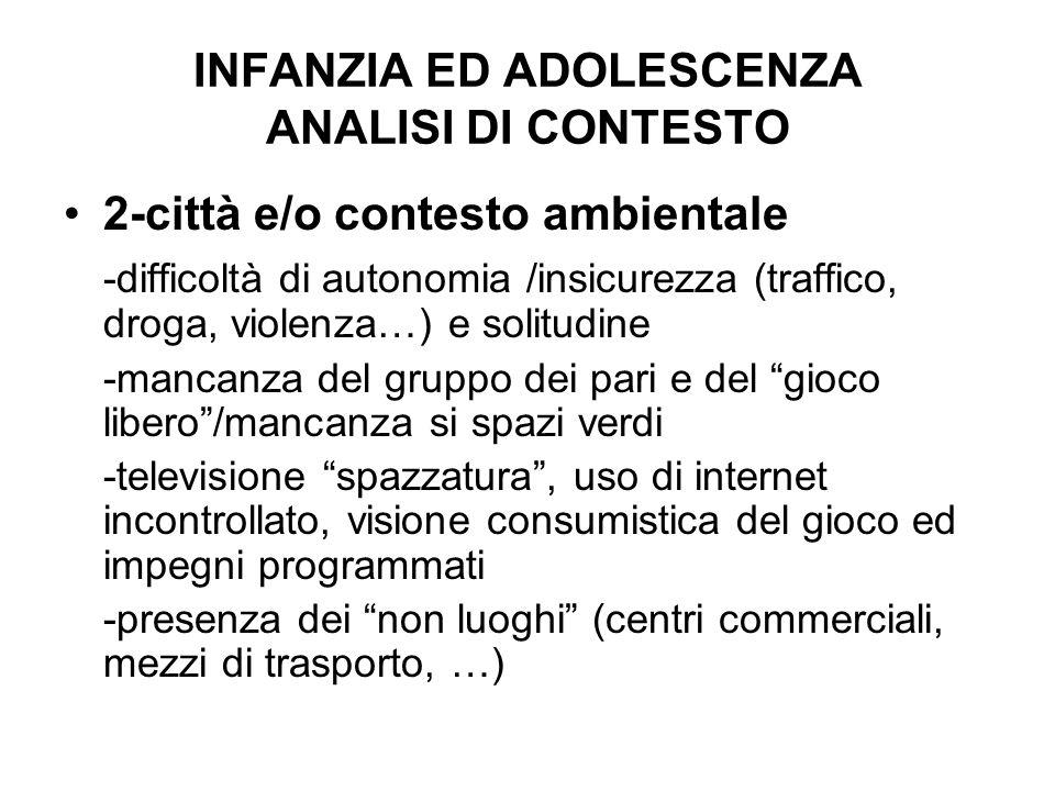 INFANZIA ED ADOLESCENZA ANALISI DI CONTESTO