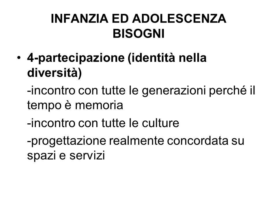INFANZIA ED ADOLESCENZA BISOGNI
