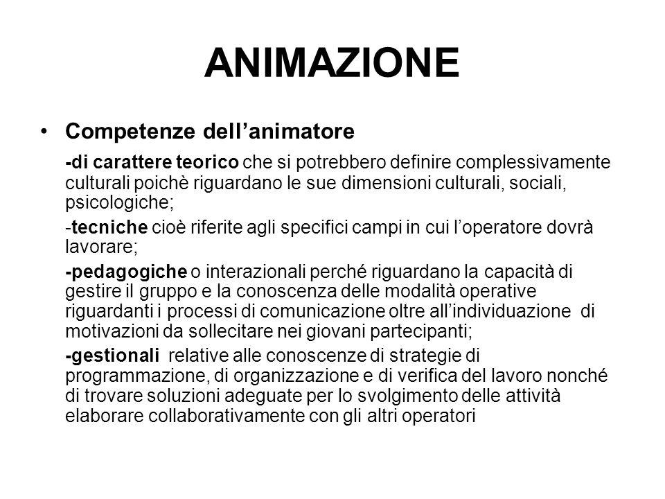 ANIMAZIONE Competenze dell'animatore