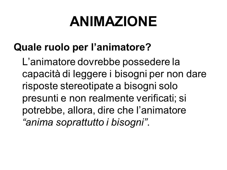 ANIMAZIONE Quale ruolo per l'animatore
