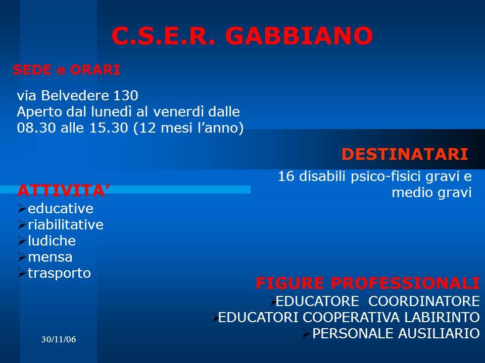 C.S.E.R. GABBIANO DESTINATARI ATTIVITA' FIGURE PROFESSIONALI
