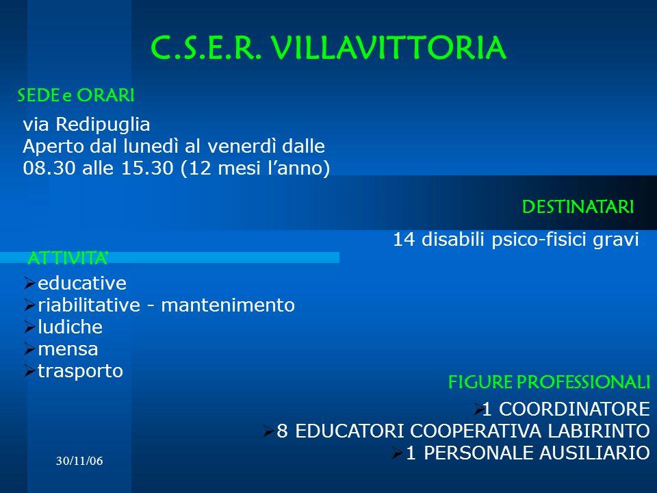 C.S.E.R. VILLAVITTORIA SEDE e ORARI via Redipuglia