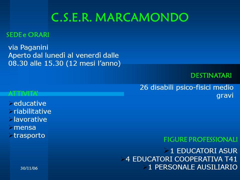 C.S.E.R. MARCAMONDO 1 EDUCATORI ASUR SEDE e ORARI via Paganini