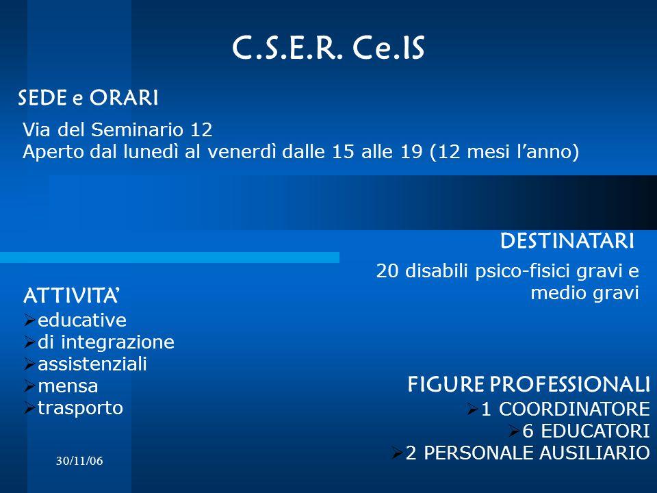 C.S.E.R. Ce.IS SEDE e ORARI DESTINATARI ATTIVITA' FIGURE PROFESSIONALI