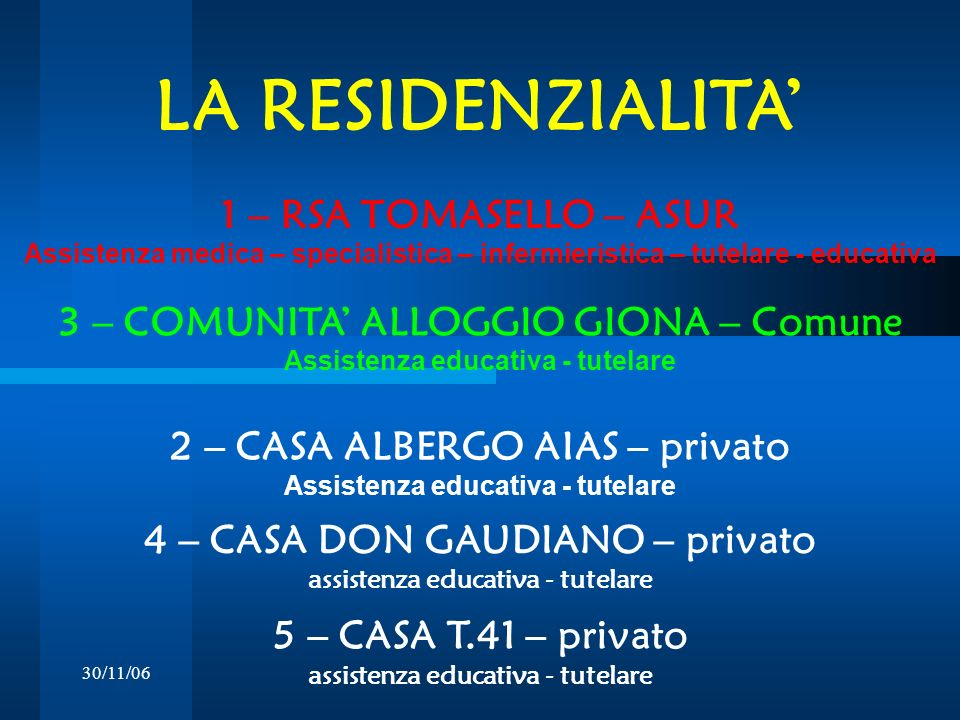 LA RESIDENZIALITA' 1 – RSA TOMASELLO – ASUR