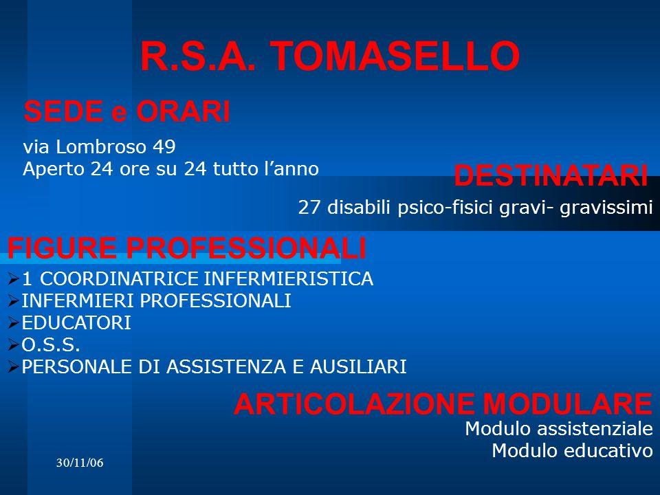 R.S.A. TOMASELLO SEDE e ORARI DESTINATARI FIGURE PROFESSIONALI