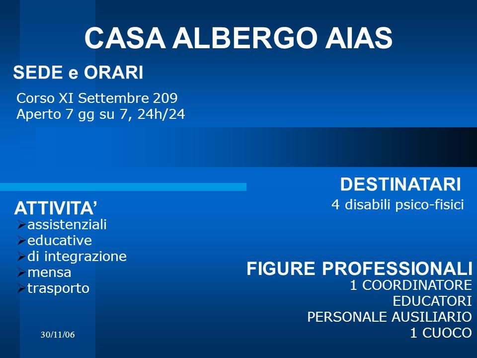 CASA ALBERGO AIAS SEDE e ORARI DESTINATARI ATTIVITA'