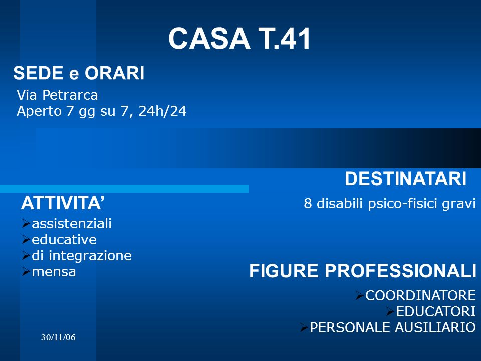 CASA T.41 SEDE e ORARI DESTINATARI ATTIVITA' FIGURE PROFESSIONALI