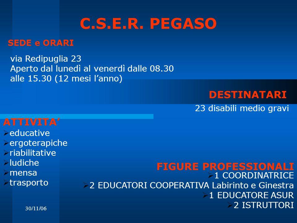 C.S.E.R. PEGASO DESTINATARI ATTIVITA' FIGURE PROFESSIONALI
