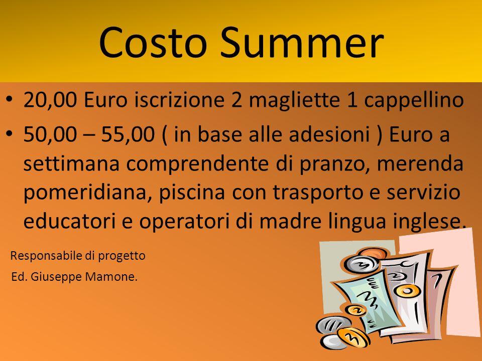 Costo Summer 20,00 Euro iscrizione 2 magliette 1 cappellino