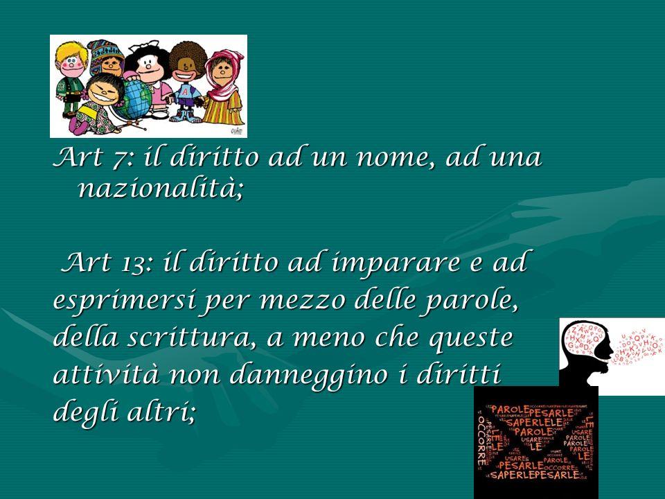 Art 7: il diritto ad un nome, ad una nazionalità;
