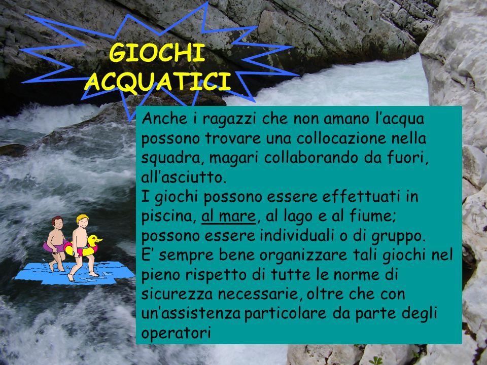 GIOCHI ACQUATICI Anche i ragazzi che non amano l'acqua possono trovare una collocazione nella squadra, magari collaborando da fuori, all'asciutto.