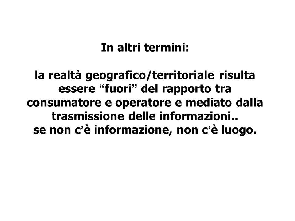 In altri termini: la realtà geografico/territoriale risulta essere fuori del rapporto tra consumatore e operatore e mediato dalla trasmissione delle informazioni..