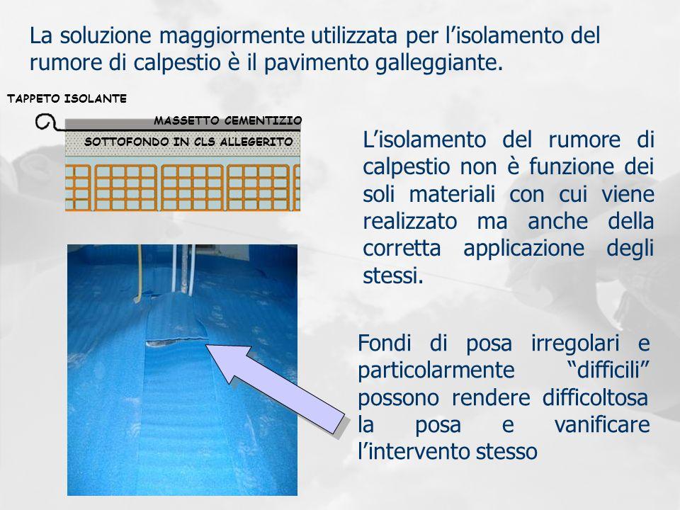 La soluzione maggiormente utilizzata per l'isolamento del rumore di calpestio è il pavimento galleggiante.