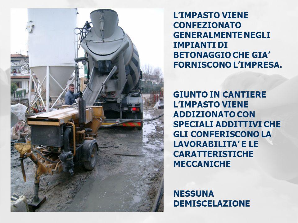 L'IMPASTO VIENE CONFEZIONATO GENERALMENTE NEGLI IMPIANTI DI BETONAGGIO CHE GIA' FORNISCONO L'IMPRESA.