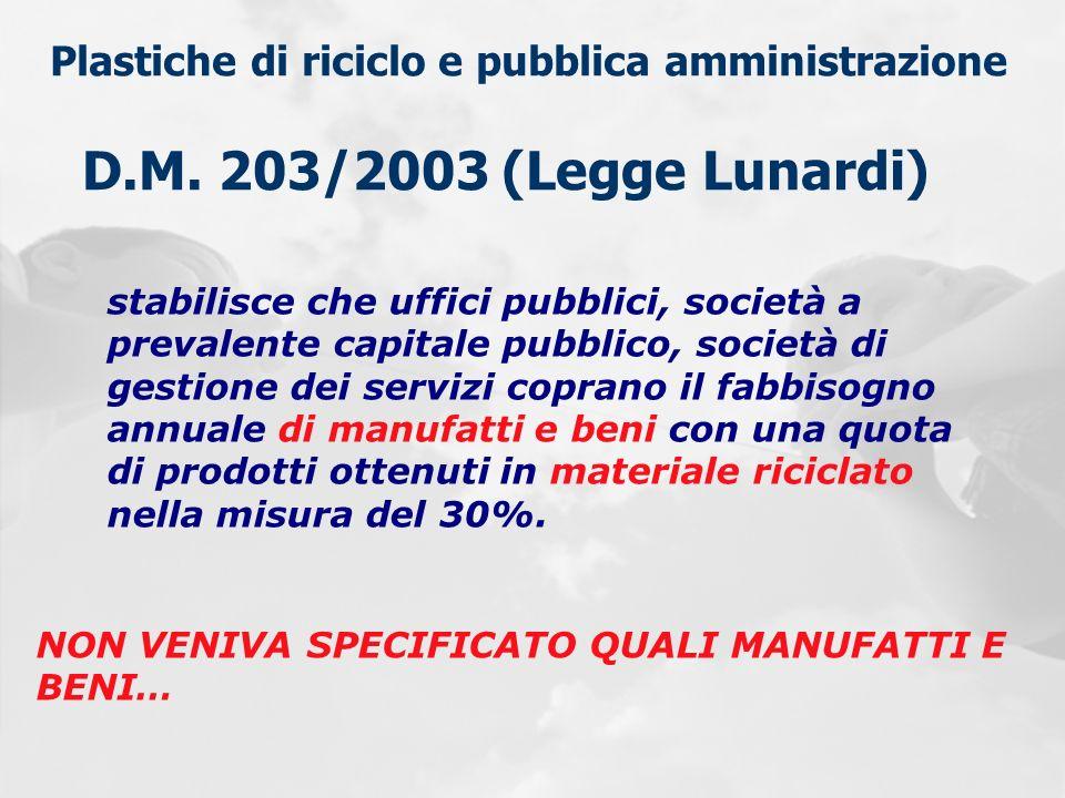Plastiche di riciclo e pubblica amministrazione