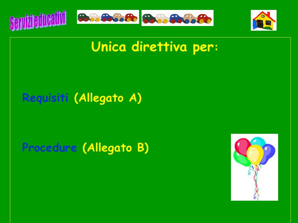 Unica direttiva per: Requisiti (Allegato A) Procedure (Allegato B)
