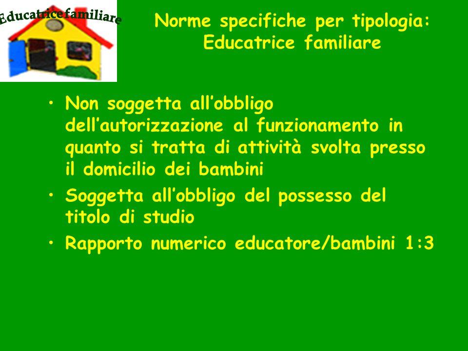 Norme specifiche per tipologia: Educatrice familiare