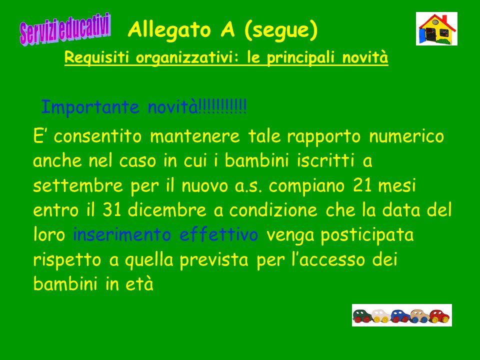 Allegato A (segue) Requisiti organizzativi: le principali novità