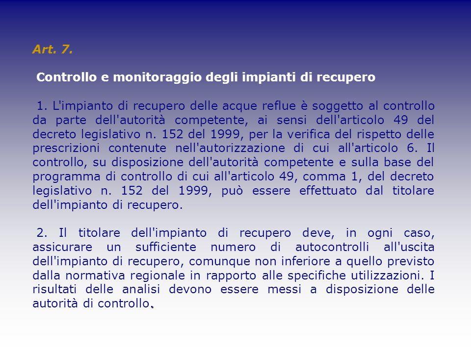 Art. 7. Controllo e monitoraggio degli impianti di recupero.