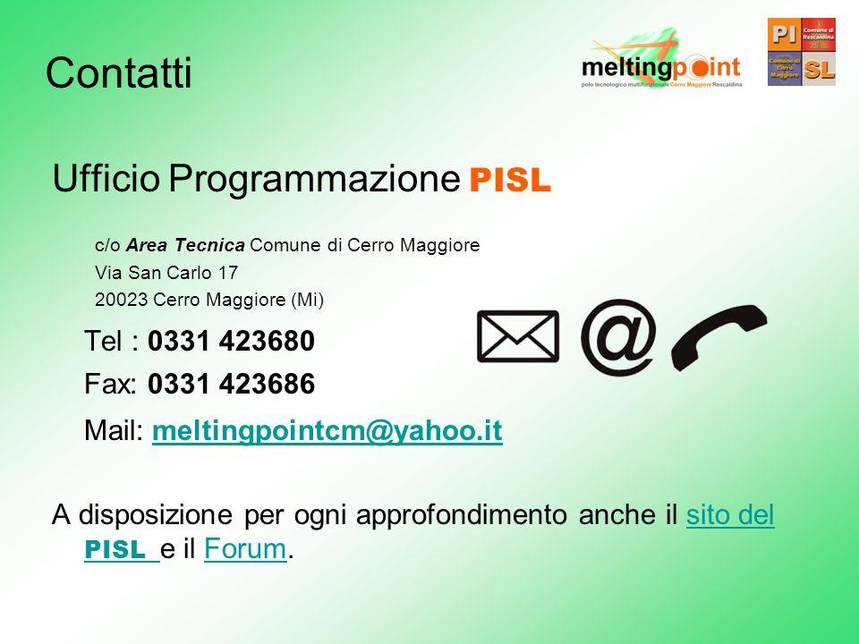 Contatti Ufficio Programmazione PISL Tel : 0331 423680