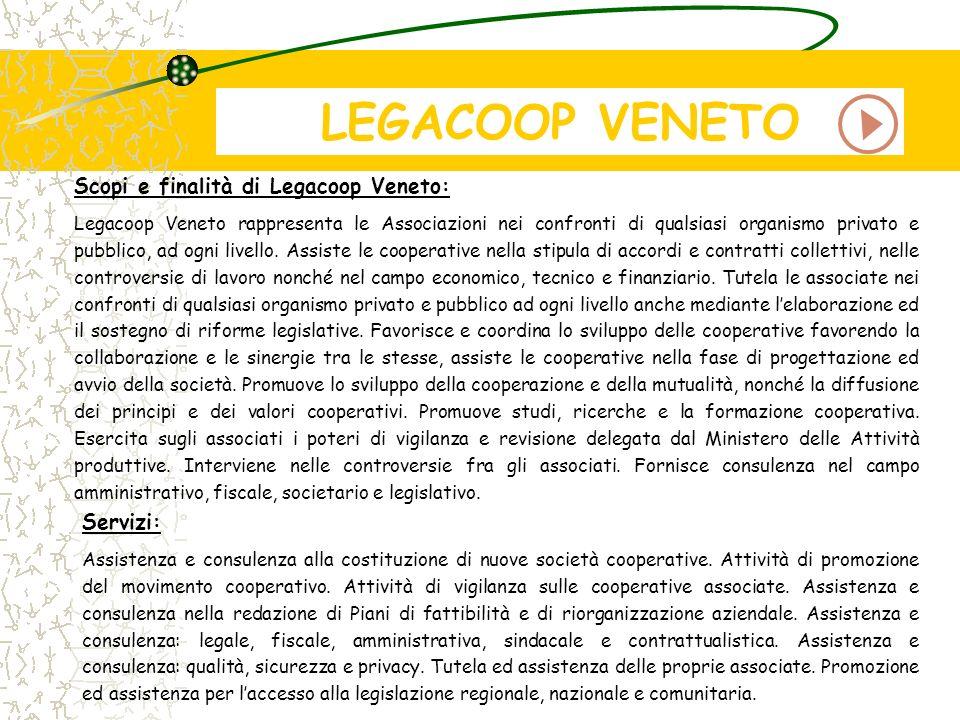 LEGACOOP VENETO Scopi e finalità di Legacoop Veneto: Servizi: