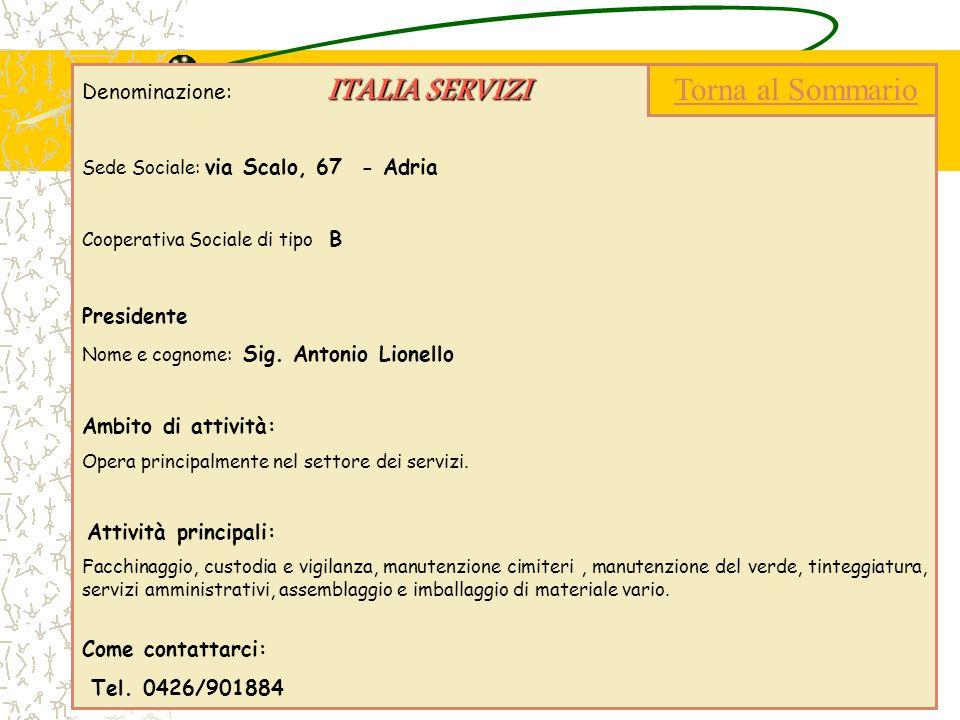 Torna al Sommario Denominazione: ITALIA SERVIZI Presidente