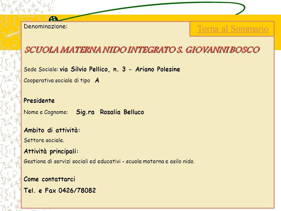 SCUOLA MATERNA NIDO INTEGRATO S. GIOVANNI BOSCO Torna al Sommario