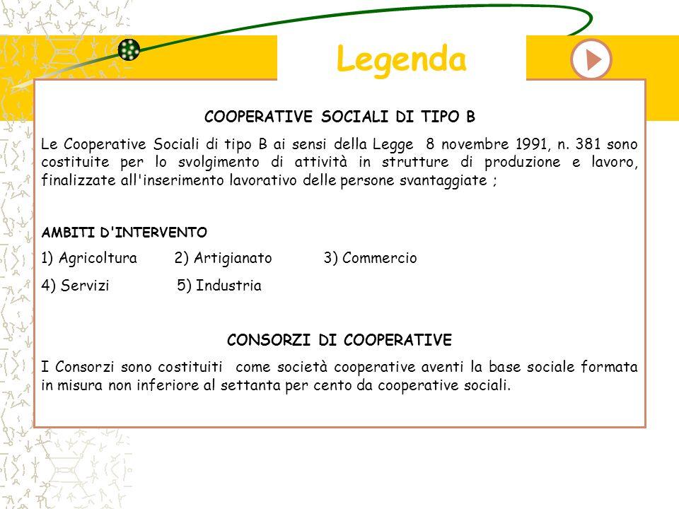COOPERATIVE SOCIALI DI TIPO B CONSORZI DI COOPERATIVE