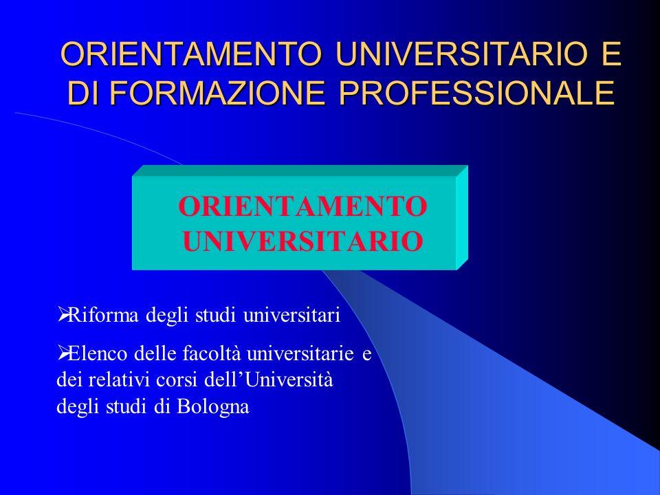 ORIENTAMENTO UNIVERSITARIO E DI FORMAZIONE PROFESSIONALE