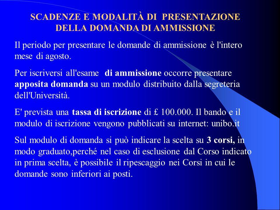 SCADENZE E MODALITÀ DI PRESENTAZIONE DELLA DOMANDA DI AMMISSIONE