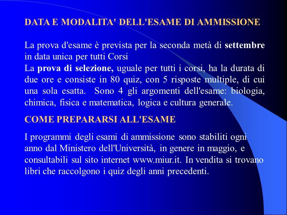DATA E MODALITA DELL ESAME DI AMMISSIONE