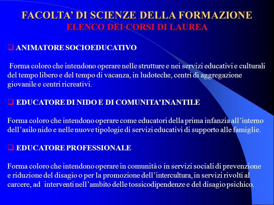 FACOLTA' DI SCIENZE DELLA FORMAZIONE ELENCO DEI CORSI DI LAUREA