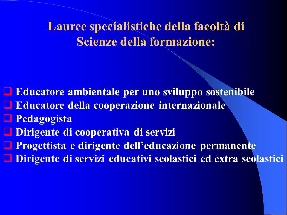 Lauree specialistiche della facoltà di Scienze della formazione: