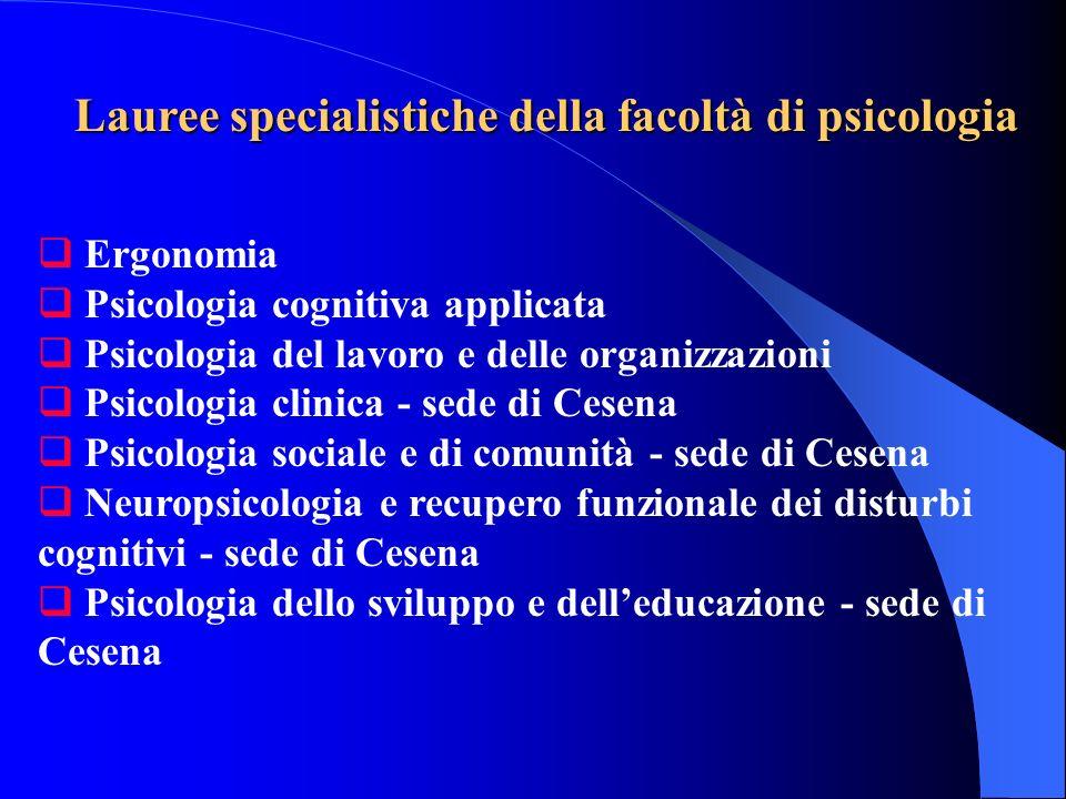 Lauree specialistiche della facoltà di psicologia