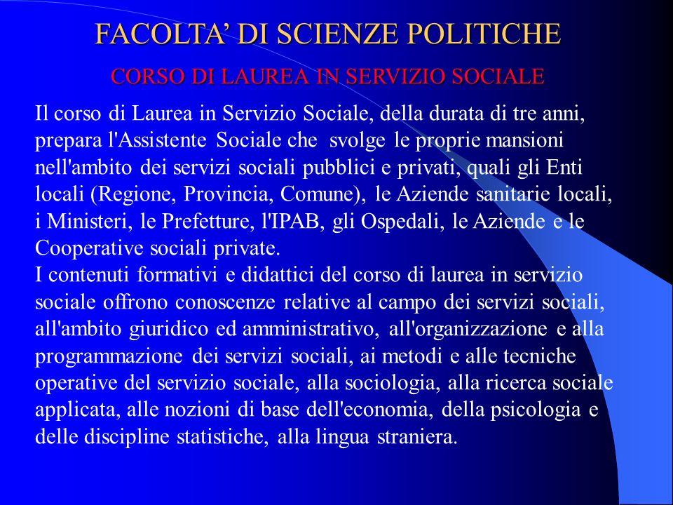 FACOLTA' DI SCIENZE POLITICHE