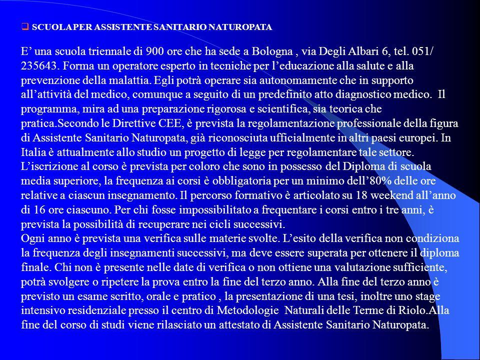 SCUOLA PER ASSISTENTE SANITARIO NATUROPATA