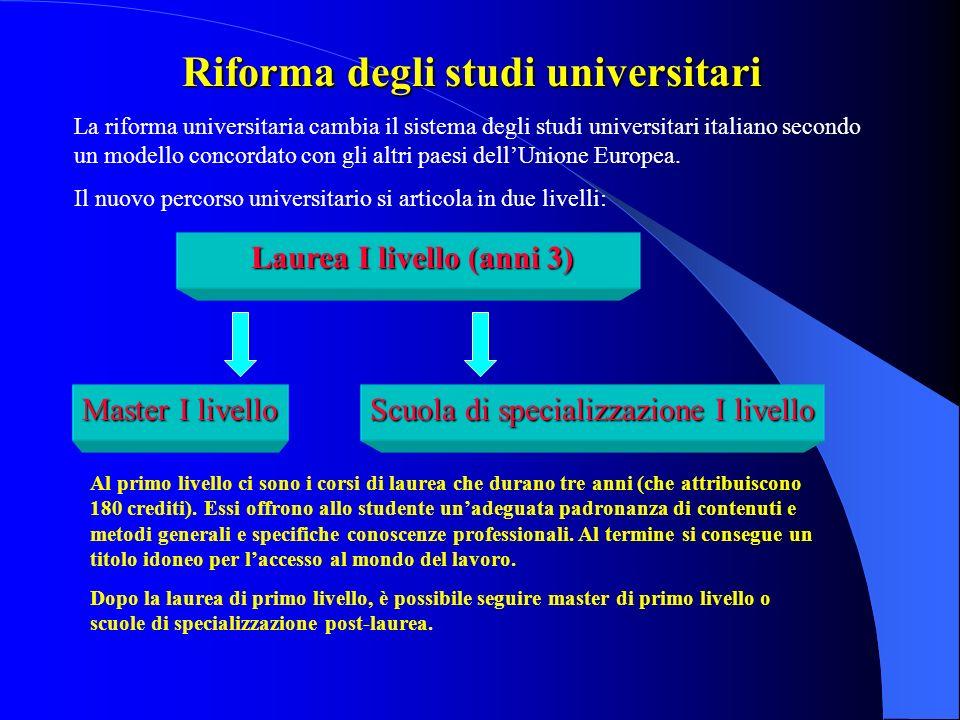 Riforma degli studi universitari Laurea I livello (anni 3)