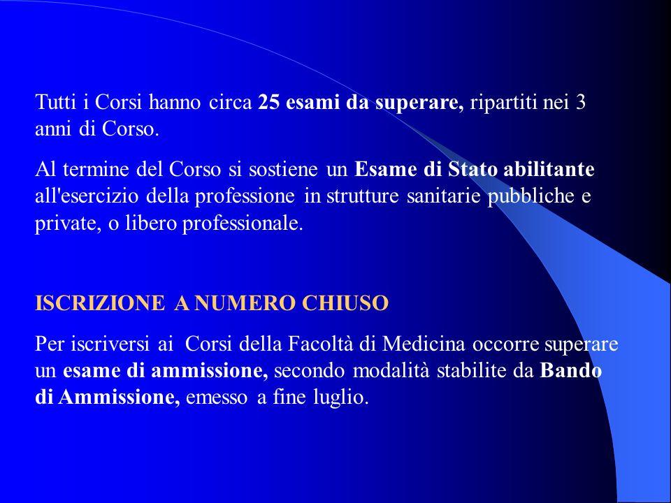 Tutti i Corsi hanno circa 25 esami da superare, ripartiti nei 3 anni di Corso.