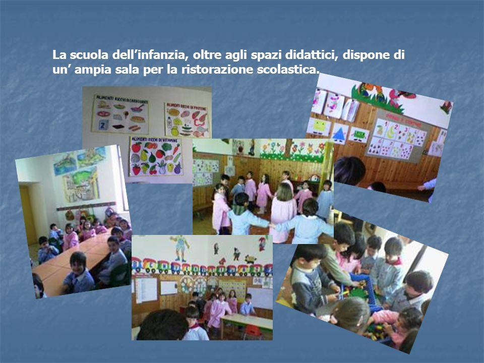 La scuola dell'infanzia, oltre agli spazi didattici, dispone di un' ampia sala per la ristorazione scolastica.