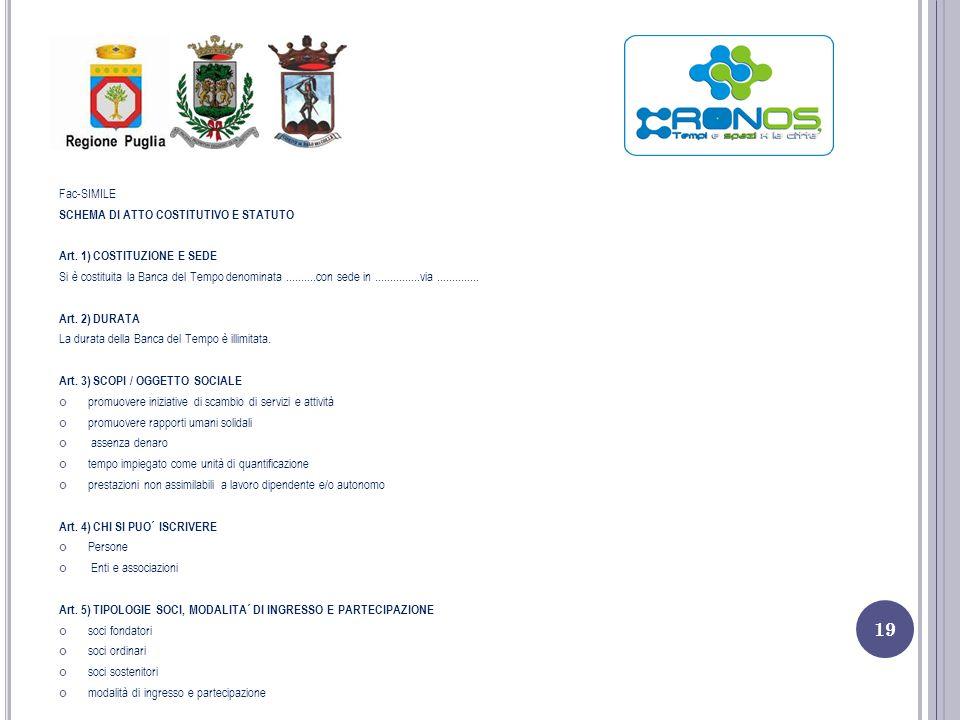 Fac-SIMILE SCHEMA DI ATTO COSTITUTIVO E STATUTO. Art. 1) COSTITUZIONE E SEDE.