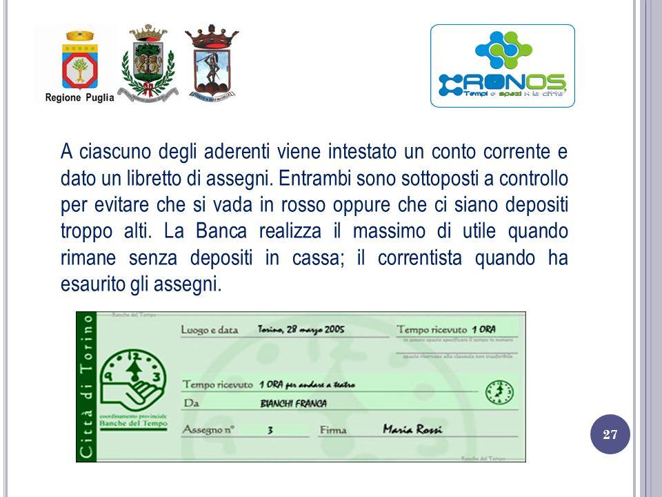 A ciascuno degli aderenti viene intestato un conto corrente e dato un libretto di assegni.