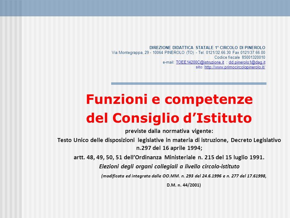 Funzioni e competenze del Consiglio d'Istituto