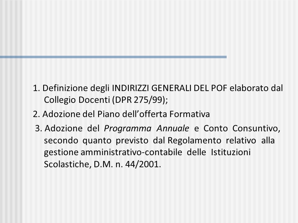 1. Definizione degli INDIRIZZI GENERALI DEL POF elaborato dal Collegio Docenti (DPR 275/99);