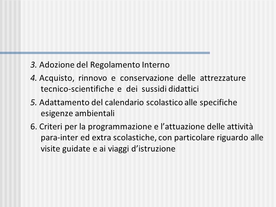 3. Adozione del Regolamento Interno